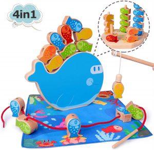 Juguete Montessori de pesca magnética