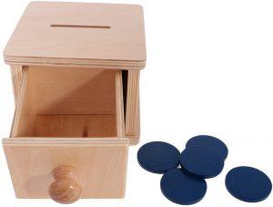 Caja de permanencia Montessori con discos