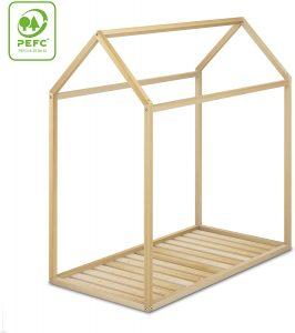 Cama Montessori 70x140 de madera natural