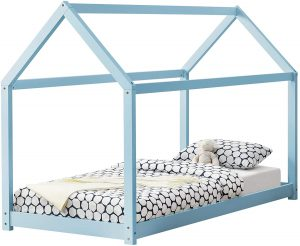 Cama Montessori 90x200 en azul lacado