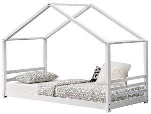 Cama Montessori blanca con barreras y forma de casita