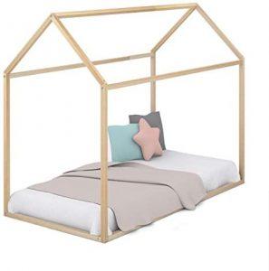 Casita de madera natural para cama Montessori